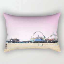 Santa Monica Pier with Ferries Wheel and Roller Coaster Against a Pink Sky Rectangular Pillow
