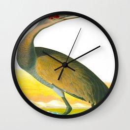 Vintage Crane Drawing Wall Clock
