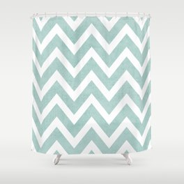 robins egg blue chevron Shower Curtain