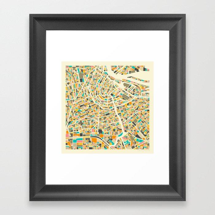 Amsterdam Map Gerahmter Kunstdruck