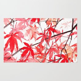 red orange maple leaves watercolor painting 2 Rug