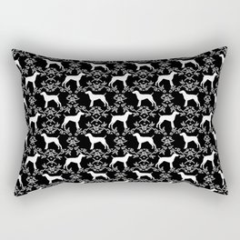 German Shorthair Pointer dog breed floral silhouette black and white dogs pattern gifts Rectangular Pillow