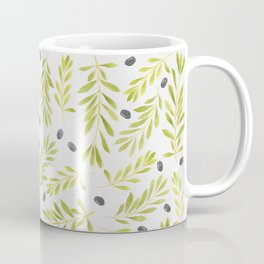 Watercolor Olive Branches Pattern Coffee Mug