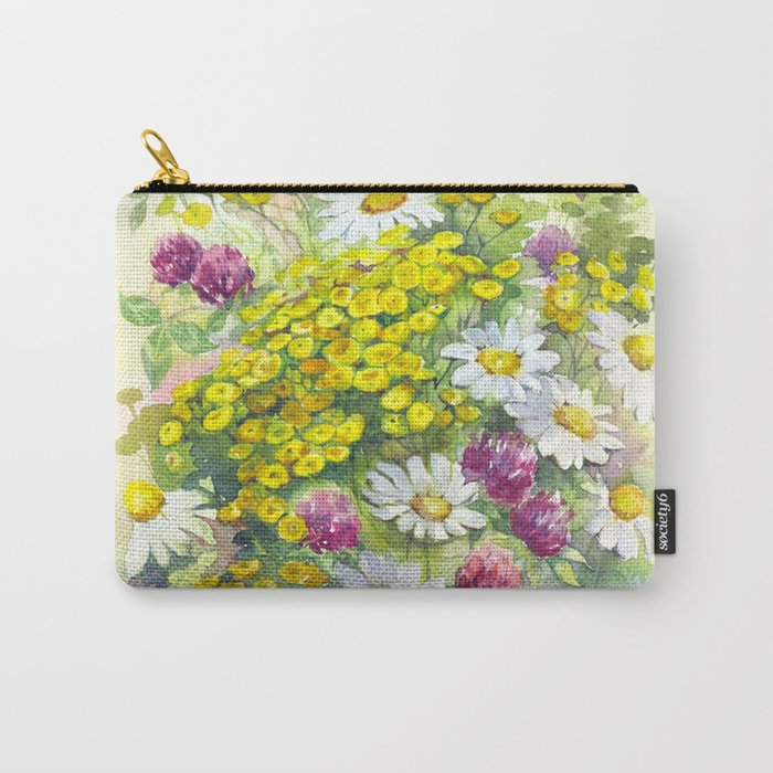 Watercolor meadow flowers spring Carry-All Pouch