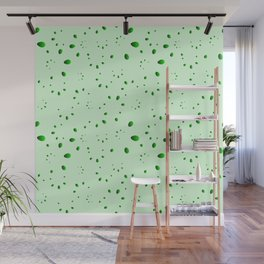 A lot of green drops and petals on a grassy background in mother of pearl. Wall Mural