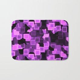 Lilac Cyber Glow Neon Squares Pattern Bath Mat