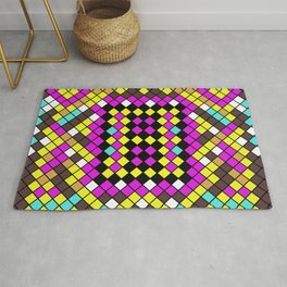 Mosaic X - Abstract, tiled, mosaic, geometric pattern Rug