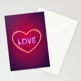Pink Love in the Heart Neon Sign Stationery Cards