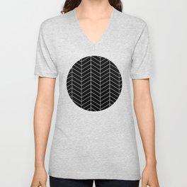 Herringbone Black Pattern Unisex V-Neck