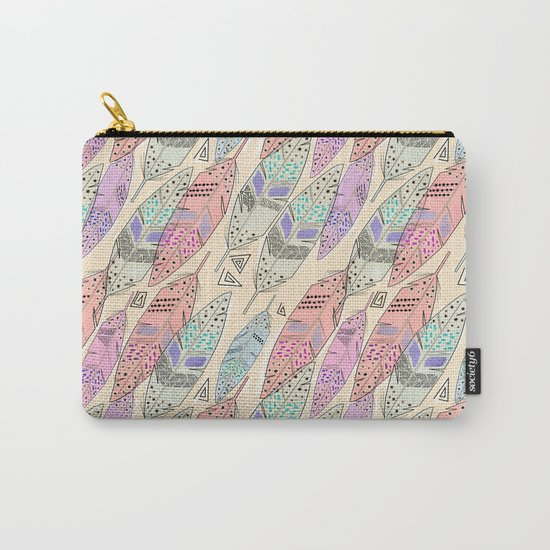 The feathers are multicolored on a beige background . Carry-All Pouch