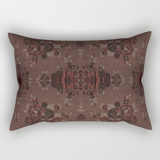Abstract brown flowers with gold Rectangular Pillow