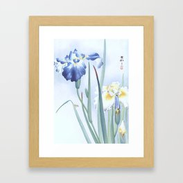 Bee And Blue Iris Flowers - Vintage Japanese Woodblock Print Art By Ohara koson Framed Art Print