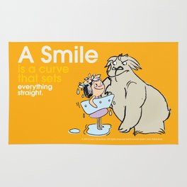 A Smile is a curve that sets everything straight. Rug