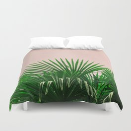 Palm Leaves On Pink Background Duvet Cover