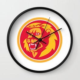 Angry Lion Head Roar Circle Retro Wall Clock