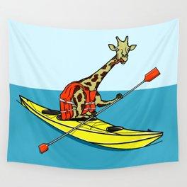 Giraffe Sea Kayaking Wall Tapestry