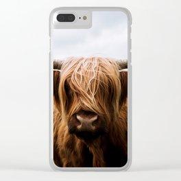 Scottish Highland Cattle in Scotland Portrait II Clear iPhone Case