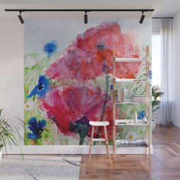 Painted Poppy Wall Mural
