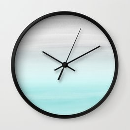 Touching Aqua Blue Gray Watercolor Abstract #1 #painting #decor #art #society6 Wall Clock
