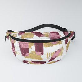 Modern burgundy pink gold watercolor brushstrokes Fanny Pack