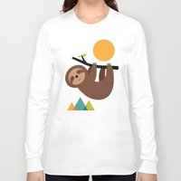 cartoons Long Sleeve T-shirts featuring Keep Calm And Live Slow by Andy Westface