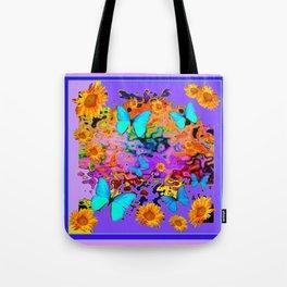 Lavender Art Blue Butterflies Floral Tote Bag