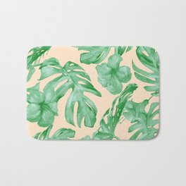 Tropical Coral Green Leaves Flower Pattern Bath Mat