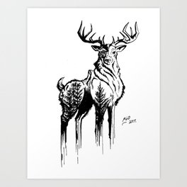 Needles & Antlers Art Print
