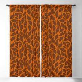 V.01 - Striated Leaves - Brown Leaves Blackout Curtain
