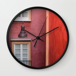 Colored yellow and red buildings, typical Mediterranean style Wall Clock