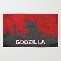 godzilla Area & Throw Rugs featuring Godzilla by WatercolorGirlArt