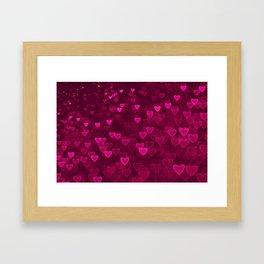 Valentine's Day | Romantic Crimson Galaxy | Universe of pink purple hearts Framed Art Print