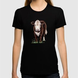 Cow Painting with Yellow Flowers T-shirt