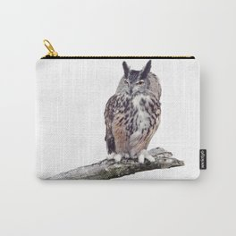 Great Horned Owl perched on a branch isolated on white background Carry-All Pouch