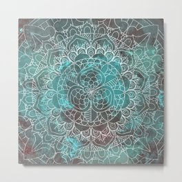 Rusty Cyan Red Mandala Design Metal Print