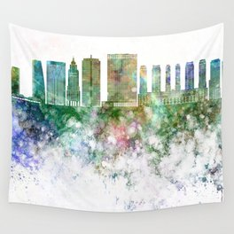 Sao Paulo V2 skyline in watercolor background Wall Tapestry