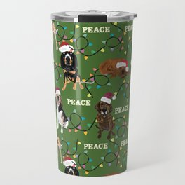 santa hat coonhounds lights green Travel Mug