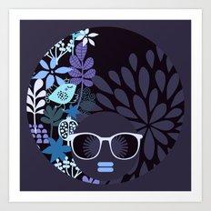 Afro Diva : Lavender Periwinkle Art Print