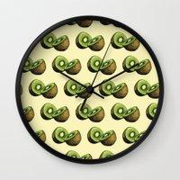 kiwi Wall Clocks featuring Kiwi by Sara Soto