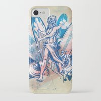 surfboard iPhone & iPod Cases featuring poseidon surfer on surfboard by Doomko