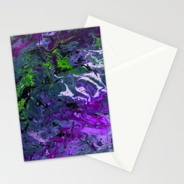 Purple green fluid abstract art Stationery Cards