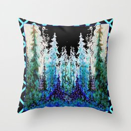 Western Turquoise Modern Art Mountain Trees Blue  Art Throw Pillow