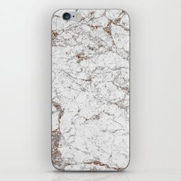 White frost - rose gold marble iPhone Skin