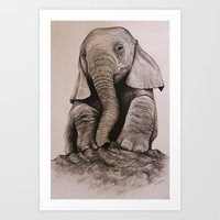 baby elephant Art Prints featuring Baby Elephant by haleyivers