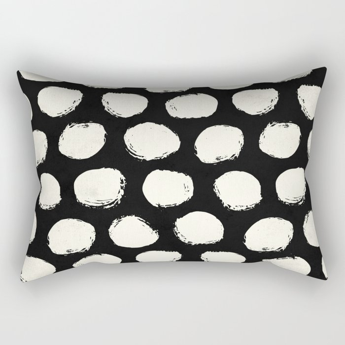 Trendy Cream Polka Dots on Black Rectangular Pillow