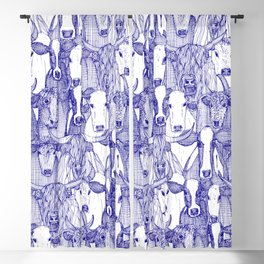 just cattle blue white Blackout Curtain