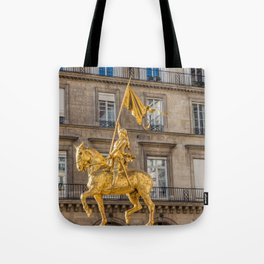 Statue of Joan of Arc on Place des Pyramides in Paris Tote Bag