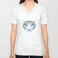 snow leopard V-neck T-shirts featuring Snow leopard by Mirukuru