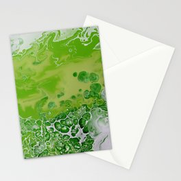 Caribbean Green - Lime Green Bright Fluid Art Stationery Cards