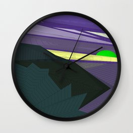 Psychedelic Magic landscap with stylised mountains, sea and green Sun. Wall Clock